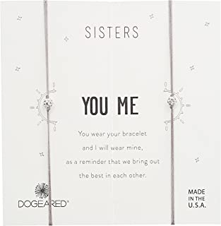 Dogeared Sisters, Sparkle Ball On Pebble Cord Bracelet, Set of 2, 0.925 Sterling Silver, Adjustable