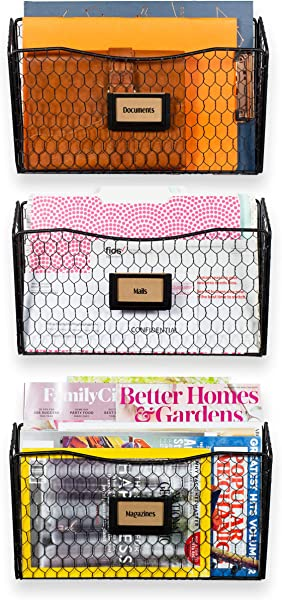 Wall35 Felic Hanging File Holder Wall Mounted Metal Chicken Wire Magazine Rack Office Folder Organizer With Name Tag Slot In Black 3