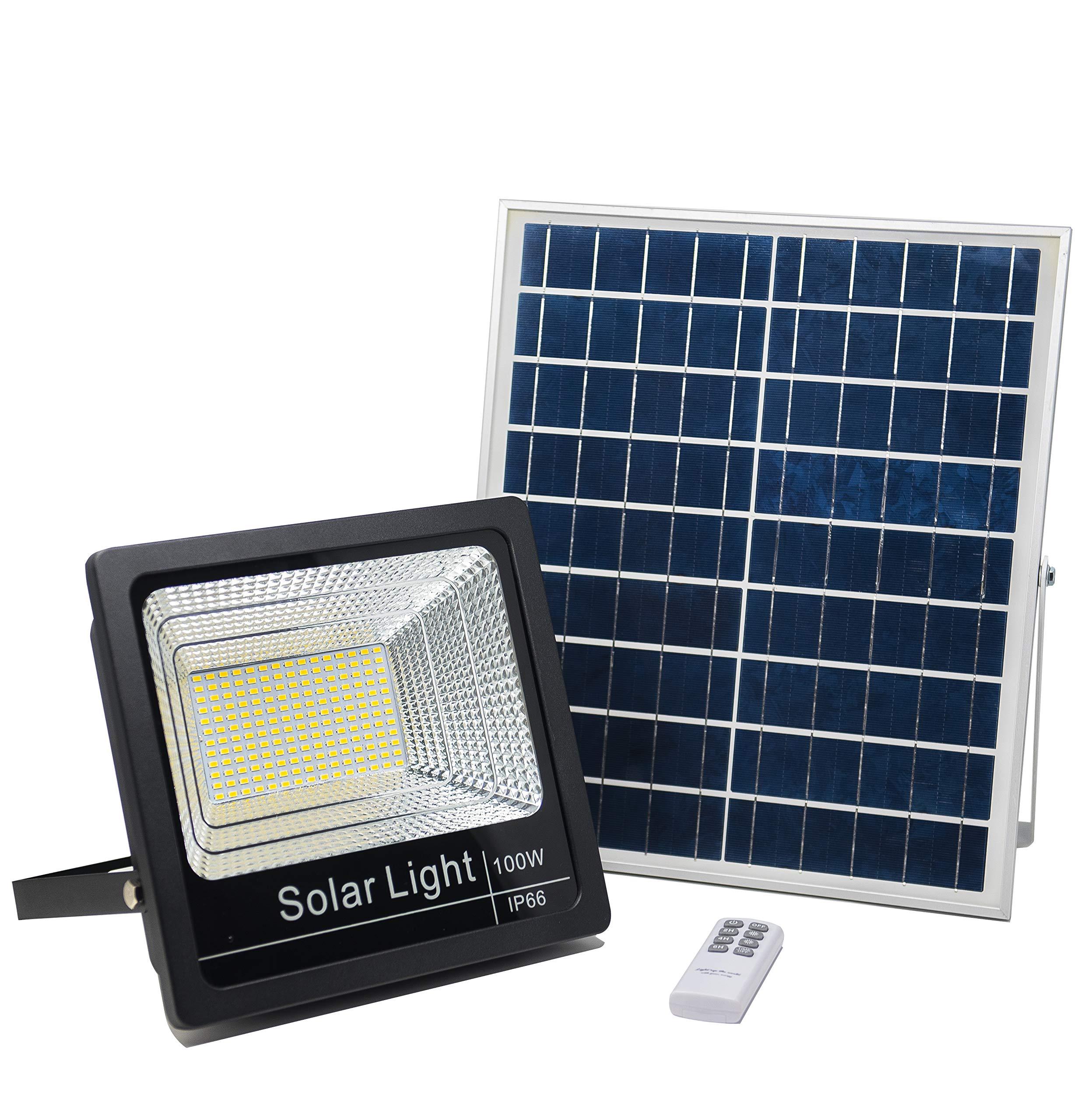 Luz Solar Exterior Mando a Distancia 100W, Foco Solar LED Luz Blanco Neutro 4000K, Lámpara Solar 180 LEDS, Iluminación Solar Hasta 15 HORAS de Luz 5000 LM: Amazon.es: Iluminación
