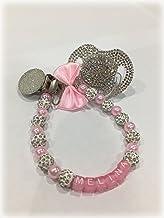 regalo Bautizo Nacimiento Talla:0-6M color rosa Lujo Baby Chupete con piedras brillantes y cadena
