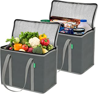 XL Insulated Reusable Grocery Bags (2-Pack, Gray). Premium Quality Cooler Bags with Solid Bottom and Sturdy Zipper. Insulated Bag Totes for Hot or Cold Food Delivery, Groceries, Travel, Shopping
