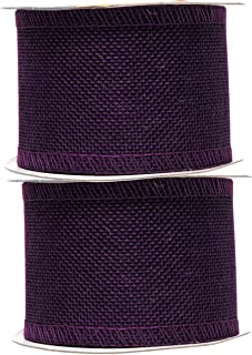 Mandala Crafts Burlap Ribbon, Jute Fabric Strip Spool for Rustic Ornament, Wreath Making, Holiday Decorating, Gift Wrapping (Purple, 2.5 Inches)
