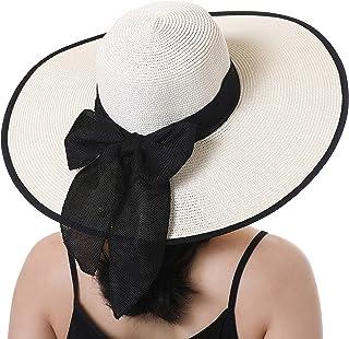 Roniky Beach Sun Hat للنساء bow-Knot UV UPF 50+ قبعة السفر قابلة للطي واسعة الحافة