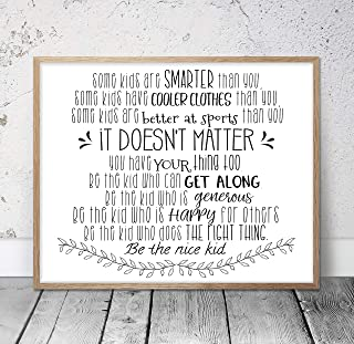 Some Kids Are Smarter Than You Be The Nice Kid Children Prints Kids Room Decor Teen Room Wall Art Classroom Posters Teacher Gifts Wood Pallet Design Wall Art Sign Plaque with Frame wooden sign