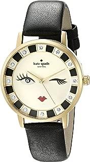 kate spade new york Women's Goldtone Metro Wink Black Leather Watch