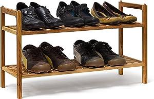 Relaxdays Étagère à Chaussures Armoire Rangement de Souliers 2 Niveaux Bois de Noyer Déco, Couleur Naturelle