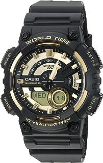 Casio 卡西欧 Heavy Duty 男士高耐石英树脂手表,颜色:黑色(型号:AEQ110BW-9AV)