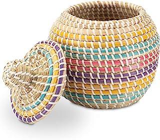 Decorasian Pot de rangement avec couvercle tressé en jonc de mer - Multicolore - 20 cm de diamètre
