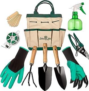 LebensfrohhTM Garden Tool Set ¦ 9 PIECE Tuinset Inclusief 4 Handgereedschap, Duurzame Tote Opbergtas, Spuitfles, Plantenla...