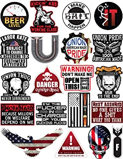 20 Hard Hat & Tool Box Vinyl Stickers – Stickers for Adults - Funny Decals for Hardhat, Construction, Union, Oilfield, Electrician, Ironworker, Mechanic, Welding, American Flag