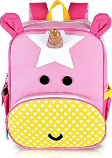 "Unicorn Backpack – 12"" Cute Pink Kids Bag with iPad Pocket and Gold Horn"