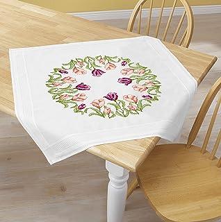 Kamaca Stickpackung Tulpen - Kranz Tischdecke 80x80 cm Kreuzstich vorgezeichnet Baumwolle komplettes Stickset mit Stickvorlage