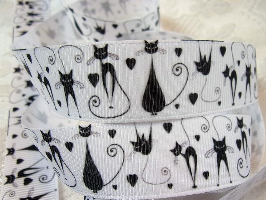 Grosgrain Ribbon - Black and White Cat Print - 7/8