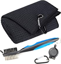 Mile High Life Microfiber Waffle Pattern Tri-fold Golf Towel | Brush Tool Kit with Club..