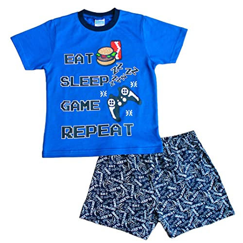 a7a7bd14a Boys Short Pjs Eat Sleep Game Zzz All Over Print Pyjamas Blue 7 to 13 Years