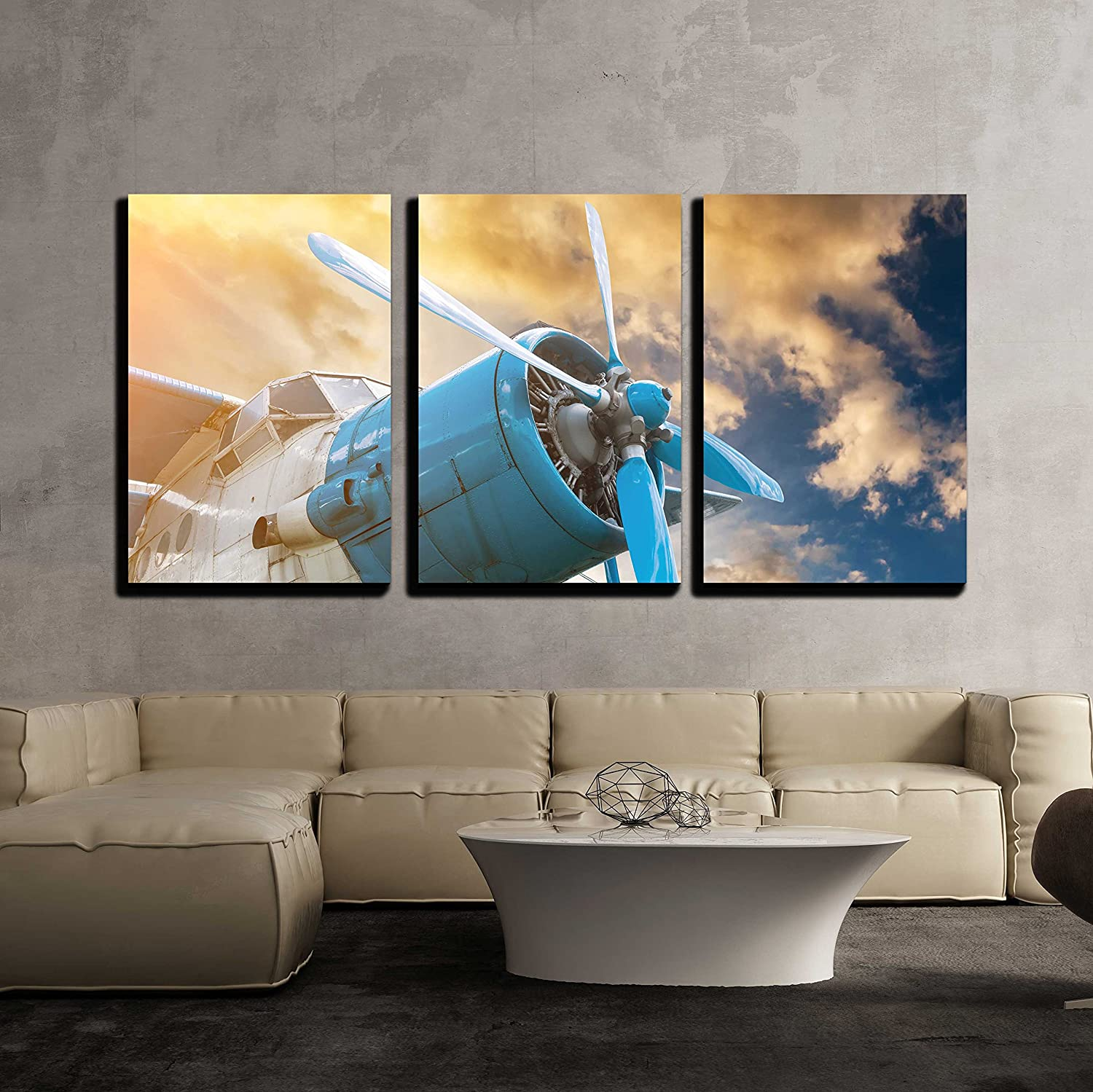 wall26 3 Piece Canvas Wall Long-awaited Art Max 70% OFF with Propeller on - Plane Beautif
