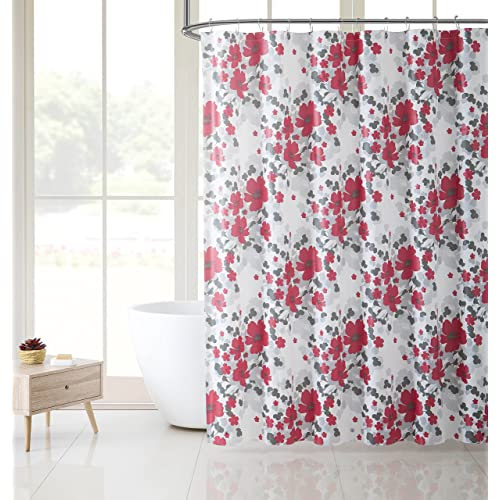 Victoria Classics White Red And Gray Floral Design PEVA Shower Curtain Liner Odorless PVC