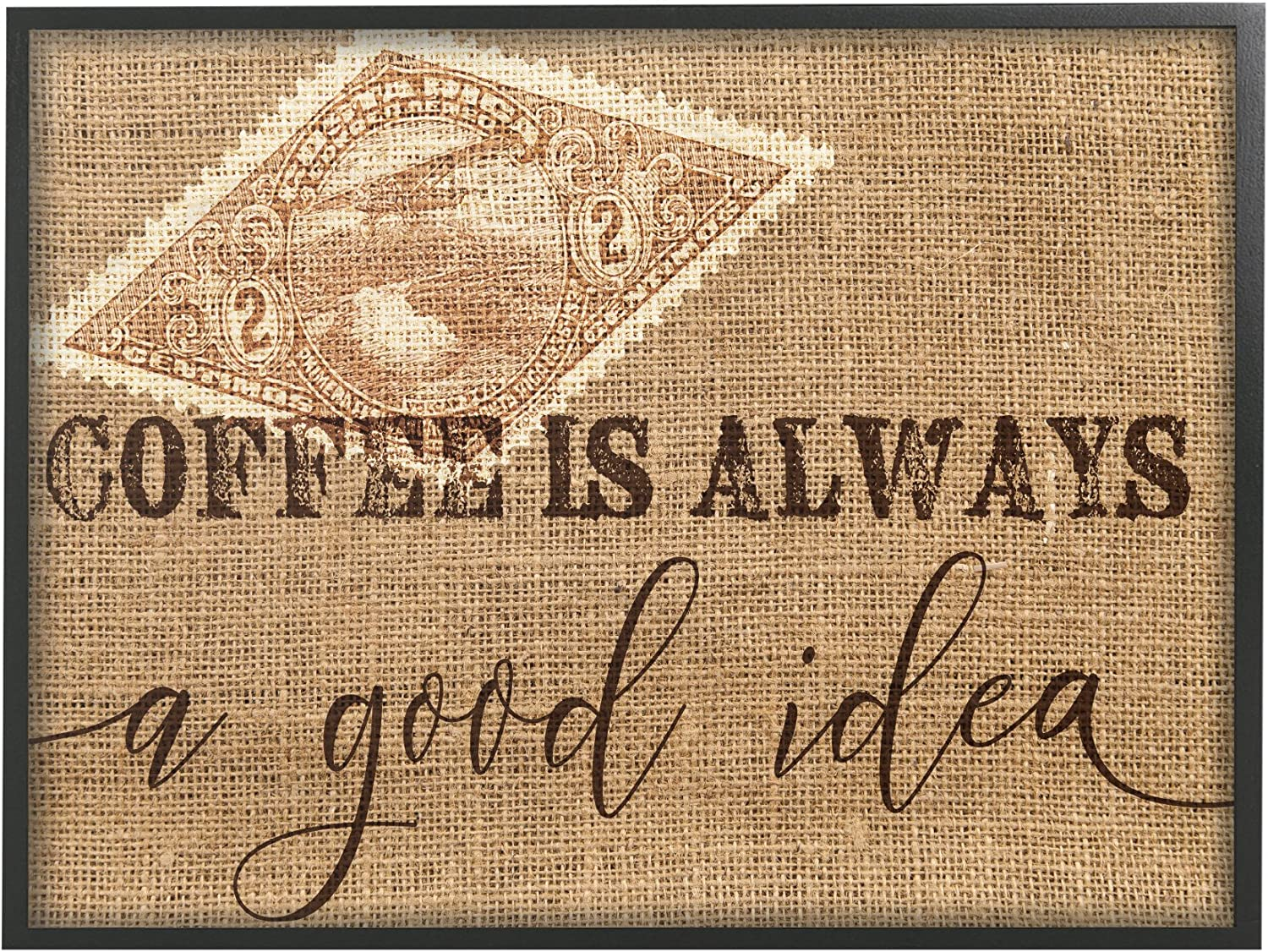 The Stupell Home Decor Collection Coffee is Always a Good Idea Framed Giclee Texturized Art, 11 x 1.5 x 14, Proudly Made in USA