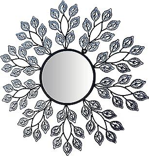 "Lulu Decor, Decorative Crystal Leaf Metal Wall Mirror, Diameter 24"", Inner Round Mirror 9"" for Living Room & Bed Room"