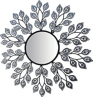 LuLu Decor, Decorative Crystal Leaf Metal Wall Mirror, Diameter 24