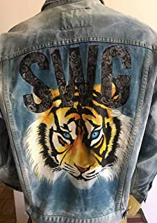 Custom Painted Denim Tiger Jacket Medium 46 Chest