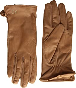 Calvin Klein - Leather Gloves w/ Knit Tonal Palm