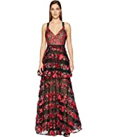 Marchesa - Sleeveless Fringe Floral Embroidered Tiered Gown with Lace Trims