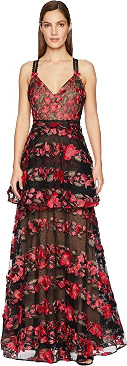 576949a4 Luxury. Black. 33. Marchesa Notte. Sleeveless Fringe Floral Embroidered  Tiered Gown ...