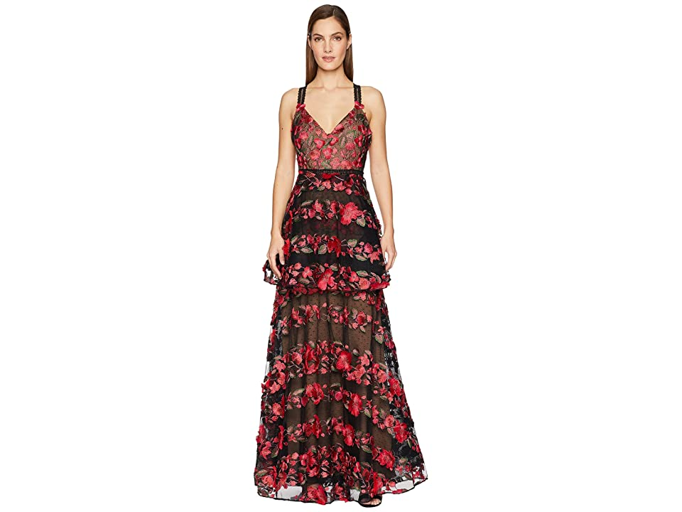 Marchesa Notte Sleeveless Fringe Floral Embroidered Tiered Gown with Lace Trims (Black) Women