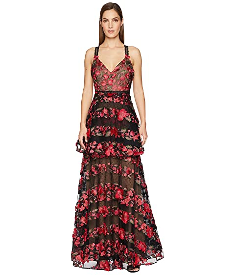 Marchesa Sleeveless Fringe Floral Embroidered Tiered Gown with Lace Trims