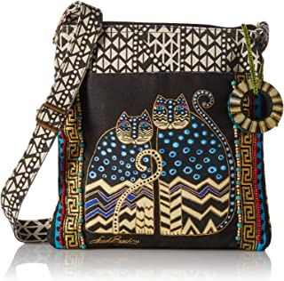 LB4315 Crossbody Tote with Zipper Top, Spotted Cats