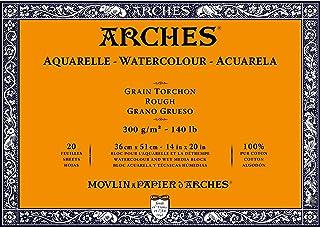 Carta per acquerelli grana satinata 300 g//m2 A3 12 fogli gommati su un lato 29,7 x 42 cm Arches