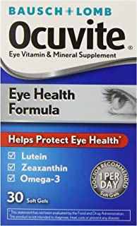 Bausch + Lomb Ocuvite Eye Vitamin and Mineral Supplement Eye Health Formula with Lutein, Zeaxanthin, and Omega-3, 30 Count Bottle