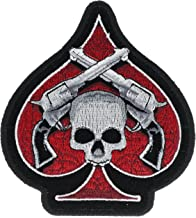 Ace Spade Six Shooter Pistol Skull 4 inch Iron On Patch HTL16642