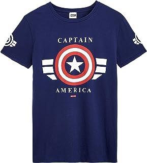 Camisetas Hombre, Ropa Hombre 100% Algodón, Camisetas Manga Corta Hombre con Escudo Capitan America, Camiseta Azul Marino de Los Vengadores, Regalo Original Hombre Adolescentes
