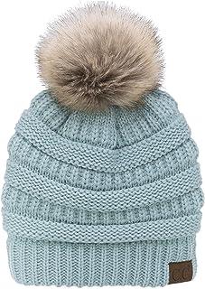 C.C Trendy Warm Soft Stretch Cable Knit Ribbed Faux Fur Pom Pom Fuzzy Sherpa Fleece Lined Skull Cap Cuff Beanie Hat