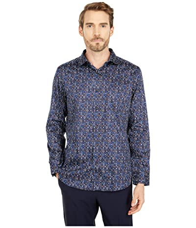 Johnston & Murphy Mixed Shapes Print Shirt (Navy/Brown) Men