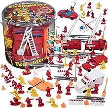 SCS Direct Firemen Action Figures - Big Bucket of Firefighters - Huge 100 Piece Set