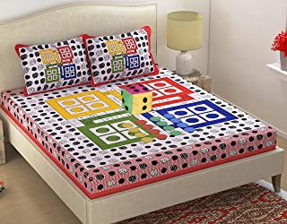 Fabture Ludo Print 160 TC Cotton Double Bedsheet with 2 Pillow Covers, Dice and 16 Tokens- Multicolor