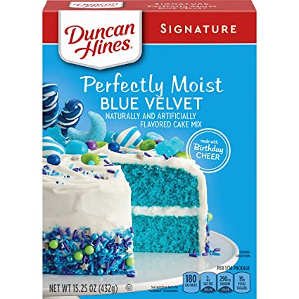 Duncan Hines Signature Cake Mix, Blue Velvet, 15.25 Ounce