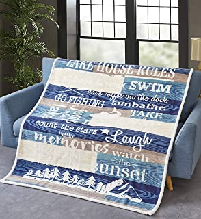 Virah Bella Collection Lake House Rules Flannel Sherpa Throw