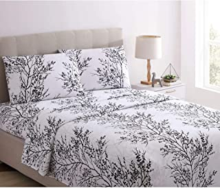 Spirit Linen Home Bed Sheet Set 4pc Foliage Long Lasting 1800 Bedding Soft Microfiber Sheets with Fitted Sheet 2 Pillowcases (King, White Black)