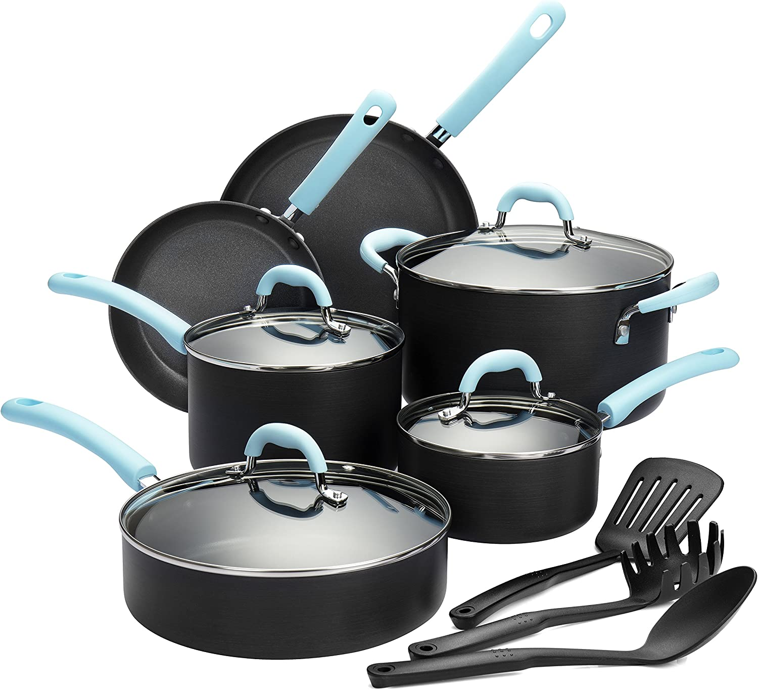 Finnhomy Super Value Hard-Anodized Aluminum Cookware Set, Double Nonstick Coating Kitchen Pots and Pan Set, Professional for Home Restaurant, 13-Piece with bluee Handle