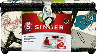 Singer Vintage Sewing Basket with Sewing Kit Accessories 07281
