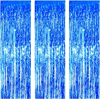 JVIGUE 3 Pack Foil Curtains Metallic Foil Fringe Curtain for Birthday Party Photo Backdrop Wedding Event Decor (Blue)