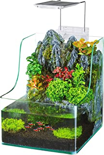 Penn-Plax Aqua Terrarium Planting Tank with Aquarium for Fish, Waterfall, LED Light, Filter, Desktop Size, 1.85 Gallon