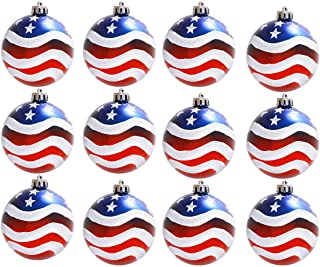 12PCS Stars & Stripes Christmas Ball Ornaments 80mm Patriotic Theme Hanging Ball Ornaments Fourth of July Independence Day...