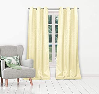 Duck River Textiles - Jax Linen Textured Foam Back Grommet Top Window Curtains for Living Room & Bedroom - Assorted Colors - Set of 2 Panels (38 X 84 Inch - Ivory)