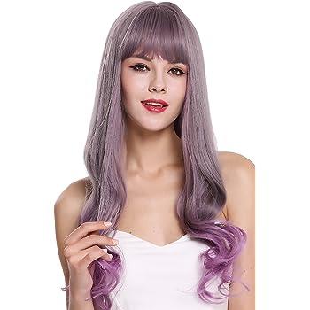 WIG ME UP- G1818-171/716 peluca de mujer pelo largo liso puntas onduladas flequillo gris lila mix: Amazon.es: Belleza