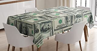 Ambesonne Money Tablecloth, Dollar Bills of United States Federal Reserve with The Portrait of Ben Franklin, Rectangular T...